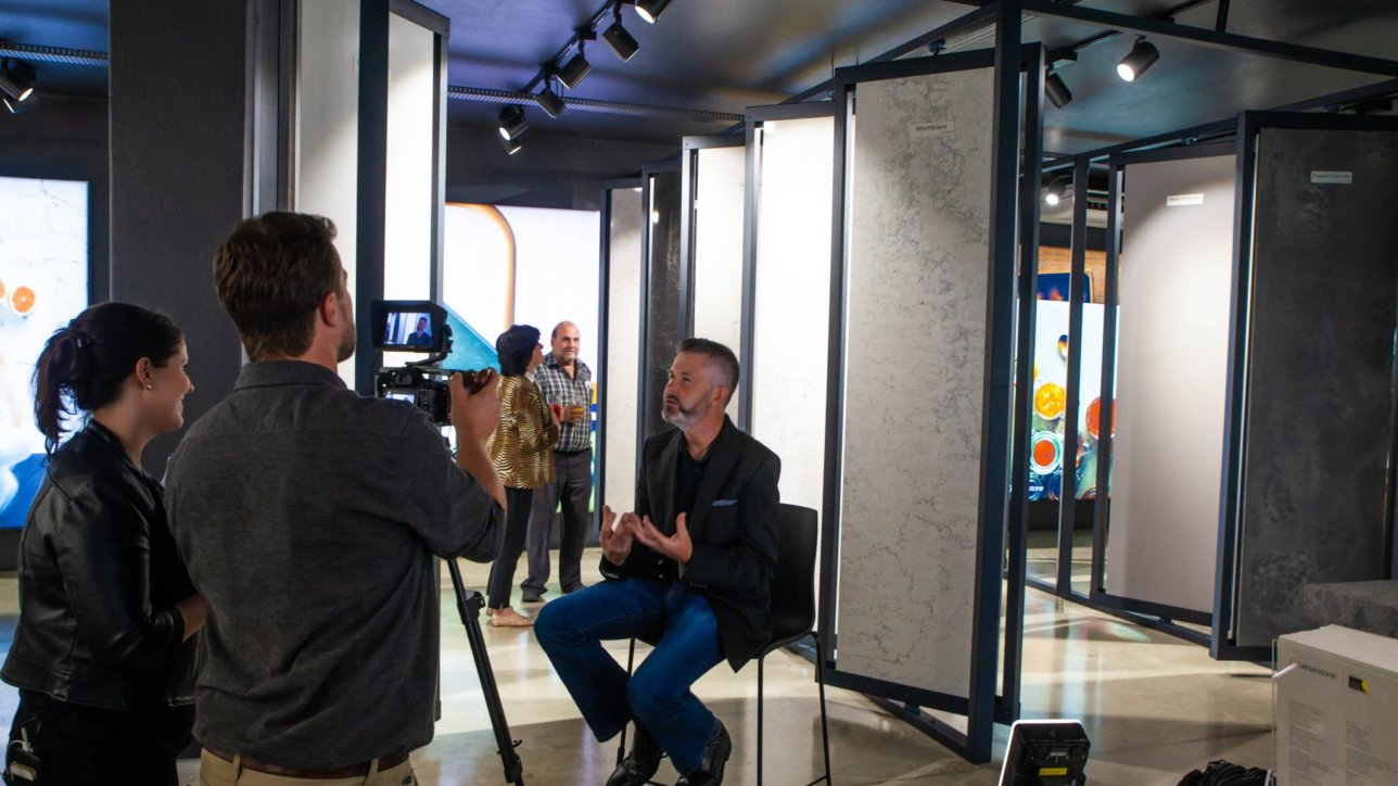 Lisa interviews Jonathan Anstey at the launch party of the Caesarstone Design Studio.